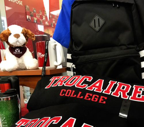 Swag for purchase in the Trocaire College Bookstore